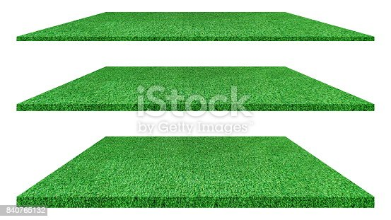 istock Artificial green grass texture isolated on white background for golf course. soccer field or sports background concept design. grass carpet. 840765132