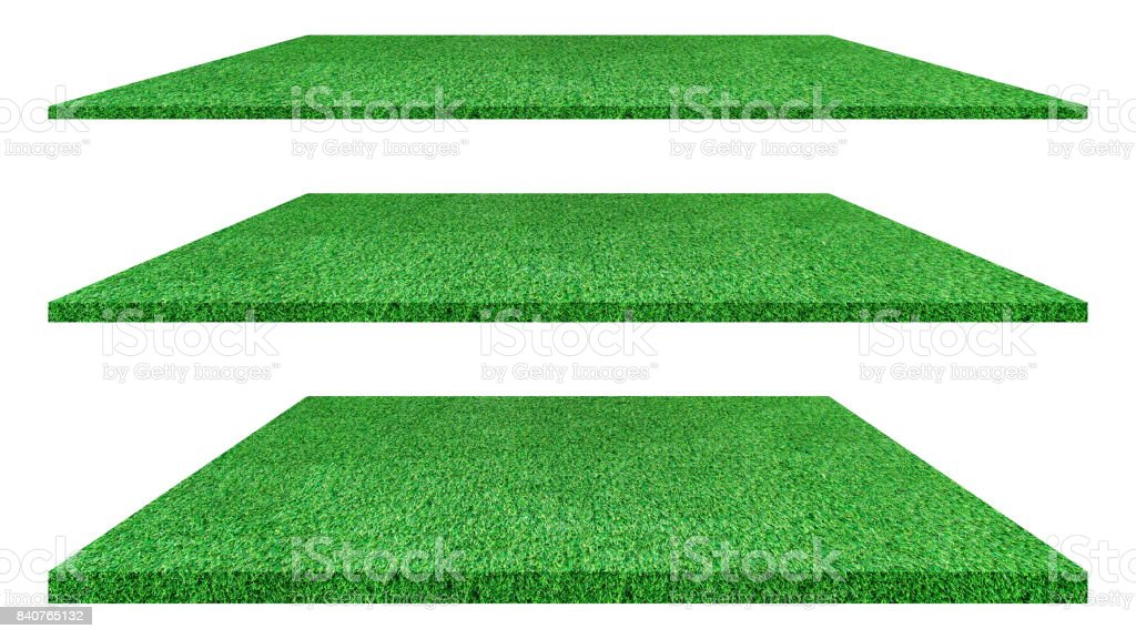 Artificial green grass texture isolated on white background for golf course. soccer field or sports background concept design. grass carpet. stock photo
