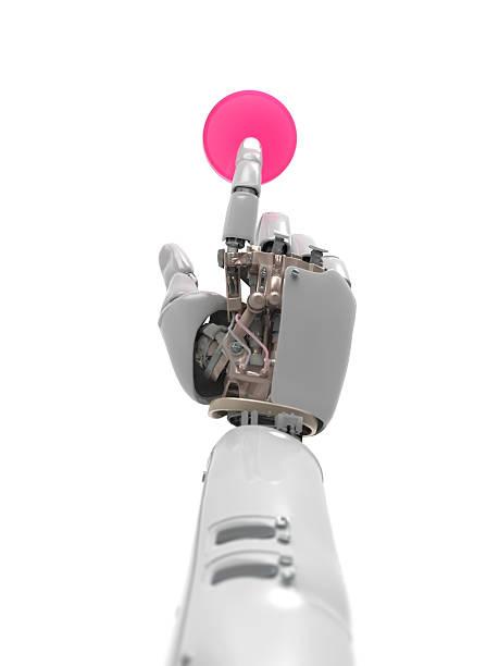 artificial mano presiona el botón - foto de stock