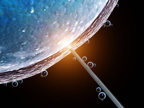Artificial insemination. Needle puncture the cell membrane stock photo