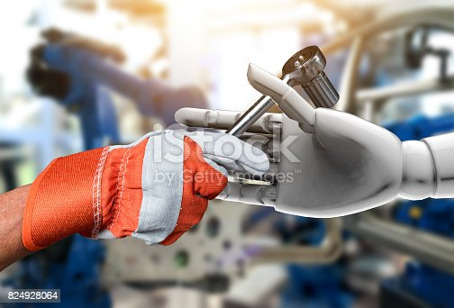 istock Artificial intelligence (AI) advisor or robo-adviser in smart factory industry 4.0 technology. Industrial Globe of male engineer hand on wrench tools to 3d rendering robot. Blur automobile background. 824928064