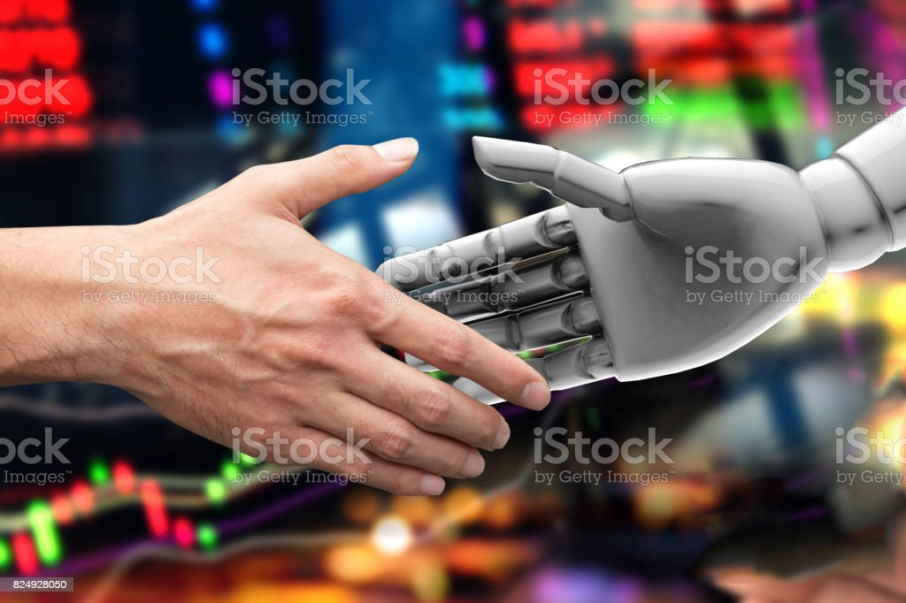 Artificial intelligence (AI) advisor or robo-advisor in stock financial market technology. Shaking hands of male investor and 3d rendering robot. Abstract graph stock exchange background. royalty-free stock photo