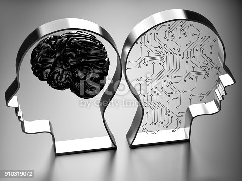 istock Artificial intelligence (AI) against the human brain 910319072