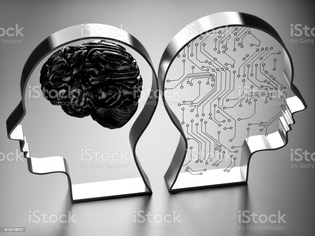 Artificial intelligence (AI) against the human brain stock photo