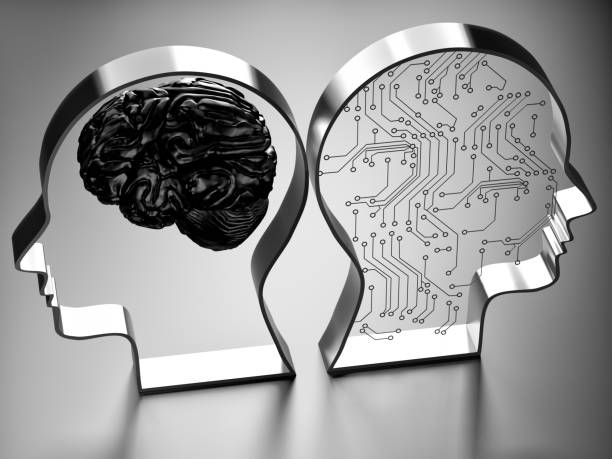 artificial intelligence (ai) against the human brain - genius stock photos and pictures