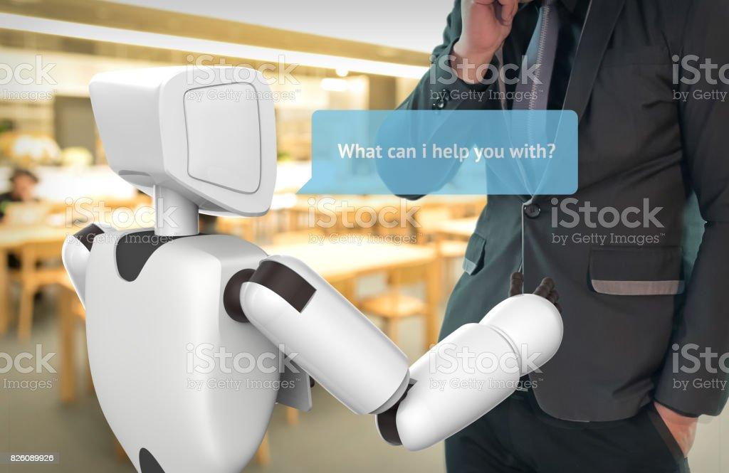 Künstliche Intelligenz, KI-Konzept. Geschäftsmann Anzug selbstfahrenden Roboter-Assistenten verwenden, Robo-Berater Fragen Kunden Dialog Grafik helfen. 3D-Rendering. – Foto