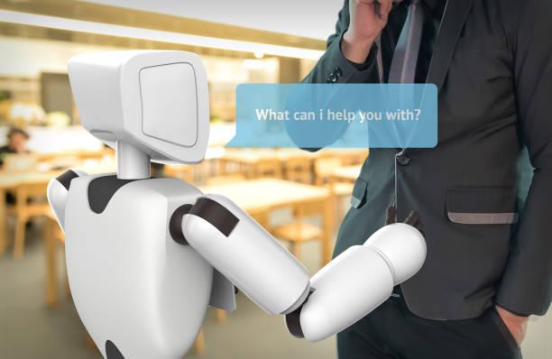 intelligence artificielle, notion d'ia. costume d'homme d'affaires utiliser self conduite robot assistant, robo-conseiller demande client pour aider le graphique de la boîte de dialogue. rendu 3d. - chatbot photos et images de collection