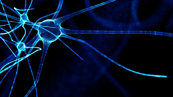istock Artificial intelligence and deep learning technology concept. Blur programming coded and blue brain Cells background. 954352868