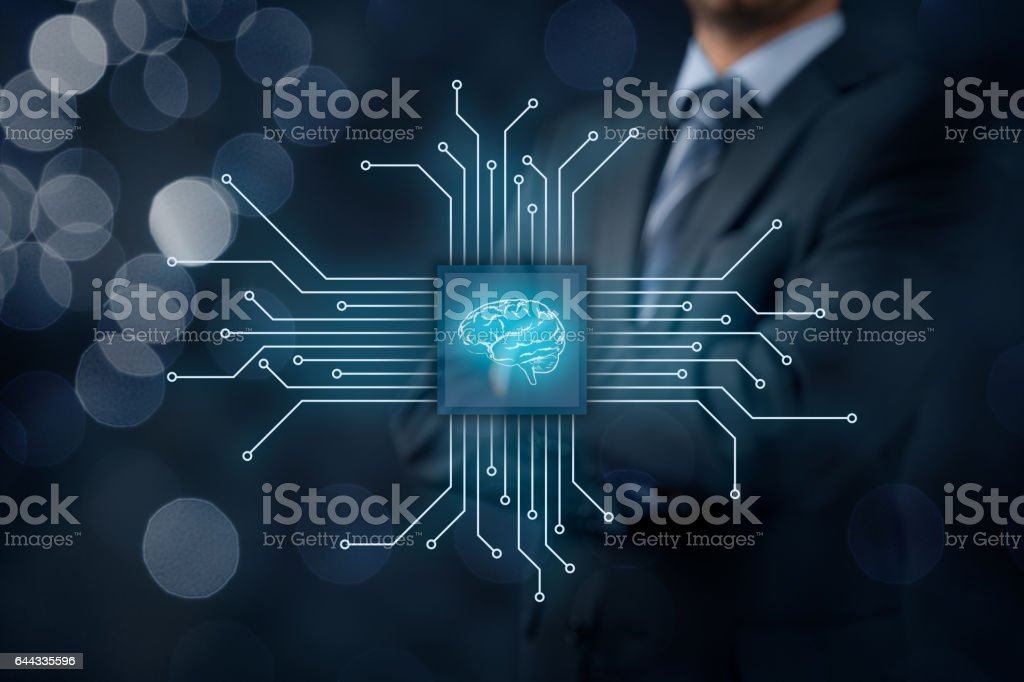 Artificial intelligence and machine learning stock photo