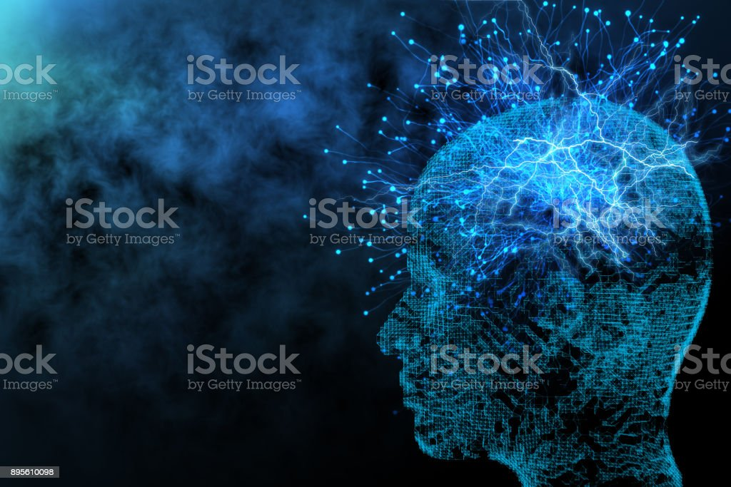 Artificial intelligence and network concept stock photo