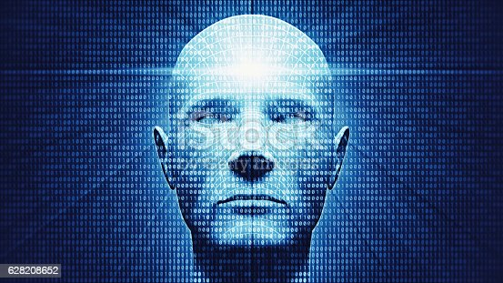 3d cyborg head processing data.