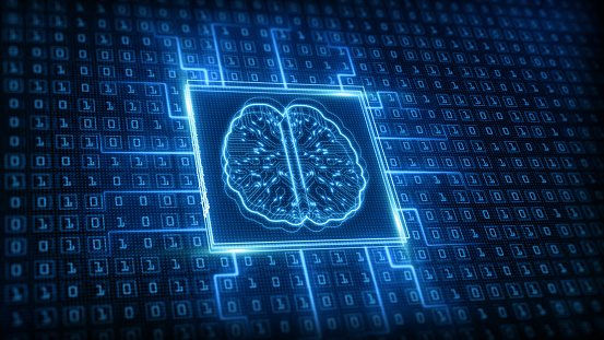 Artificial intelligence (AI) brain icon, Big data flow analysis, Deep learning modern technologies concepts. Super fast technology network connection. Future technology digital background.