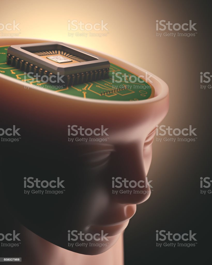 Artificial Intelligence Brain Microchip - foto stock