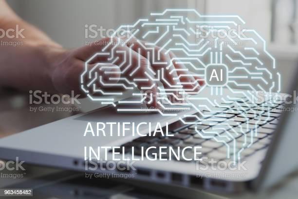 Mózg Sztucznej Inteligencji Z Myślą O Biznesmenie Lub Deweloperze Na Tle Ai Uczenie Maszynowe I Koncepcja Sieci Neuronowej - zdjęcia stockowe i więcej obrazów Asystent