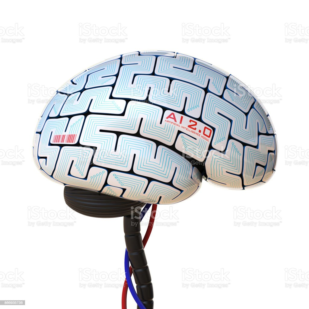 Artificial intelligence concept, bionic brain, robot brain 3d rendering - foto stock