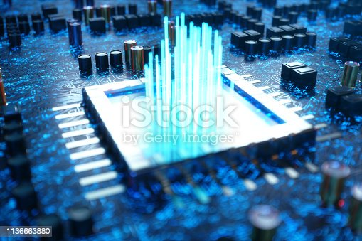 istock AI - artificial intelligence concept CPU. Machine learning. Central Computer Processors on the circuit board with luminous tracks. Encoded data. Computer chip over circuit background. 3D Illustration 1136663880