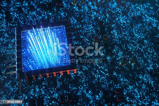 istock AI - artificial intelligence concept CPU. Machine learning. Central Computer Processors on the circuit board with luminous tracks. Encoded data. Computer chip over circuit background. 3D Illustration 1136663884