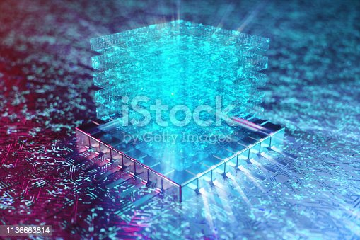 istock AI - artificial intelligence concept. Hologram above CPU. Machine learning. Central Computer Processors on the circuit board with luminous tracks. Encoded data. Computer chip over circuit background. 3D illustration 1136663814