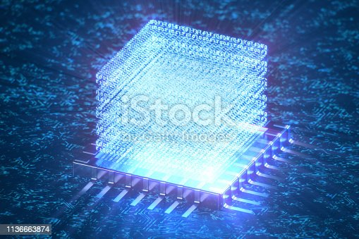istock AI - artificial intelligence concept. Hologram above CPU. Machine learning. Central Computer Processors on the circuit board with luminous tracks. Encoded data. Computer chip over circuit background. 3D illustration 1136663874