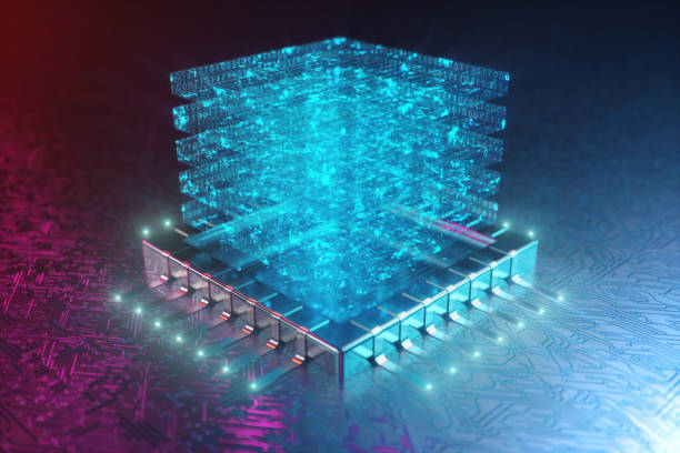 AI - artificial intelligence concept. Hologram above CPU. Machine learning. Central Computer Processors on the circuit board with luminous tracks. Encoded data. Computer chip over circuit background. 3D illustration stock photo