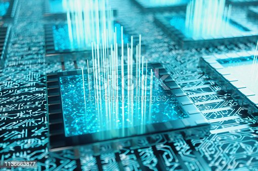 1195482922istockphoto AI - artificial intelligence concept. Machine learning. Central Computer Processors on the circuit board with luminous tracks. Encoded data. Computer chip over circuit background, 3D illustration 1136663877