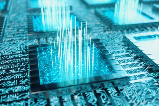 AI - artificial intelligence concept. Machine learning. Central Computer Processors on the circuit board with luminous tracks. Encoded data. Computer chip over circuit background, 3D illustration stock photo