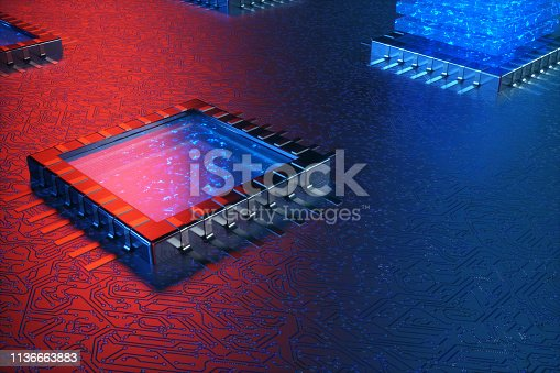 istock AI - artificial intelligence concept. Machine learning. Central Computer Processors on the circuit board with luminous tracks. Encoded data. Computer chip over circuit background. 3D Rendering 1136663883