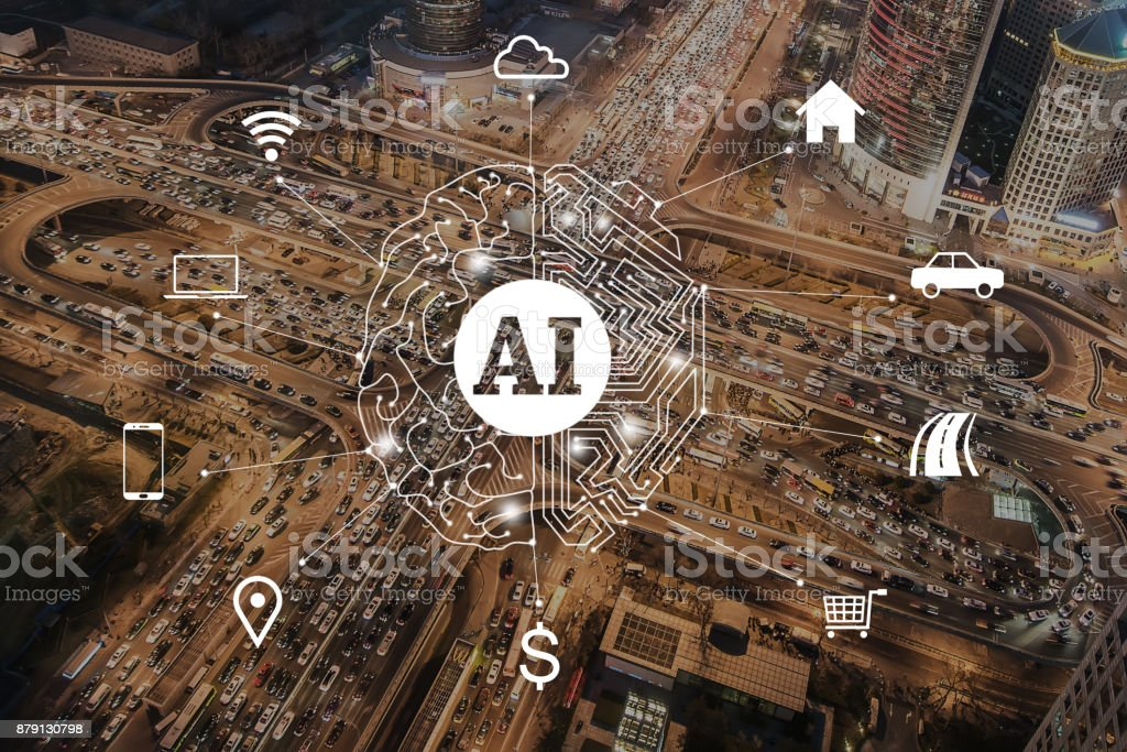Artificial Intelligence concept of Traffic Jam, Aerial View stock photo