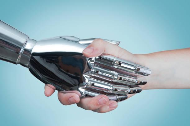 kunstmatige intelligentie concept - menselijke arm stockfoto's en -beelden