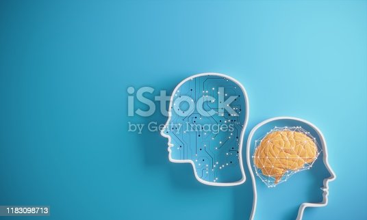 Artificial Intelligence against The Human Brain on blue background. ( 3d render )