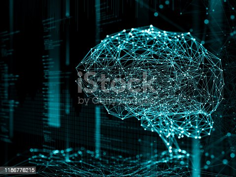 Digital background depicting innovative technologies in (AI) artificial systems, neural interfaces and internet machine learning technologies