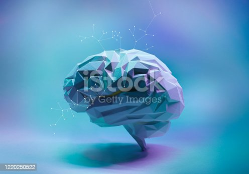 Colorful blue and pink low poly side view human brain with connection dots. Concept of artificial intelligence and machine learning.