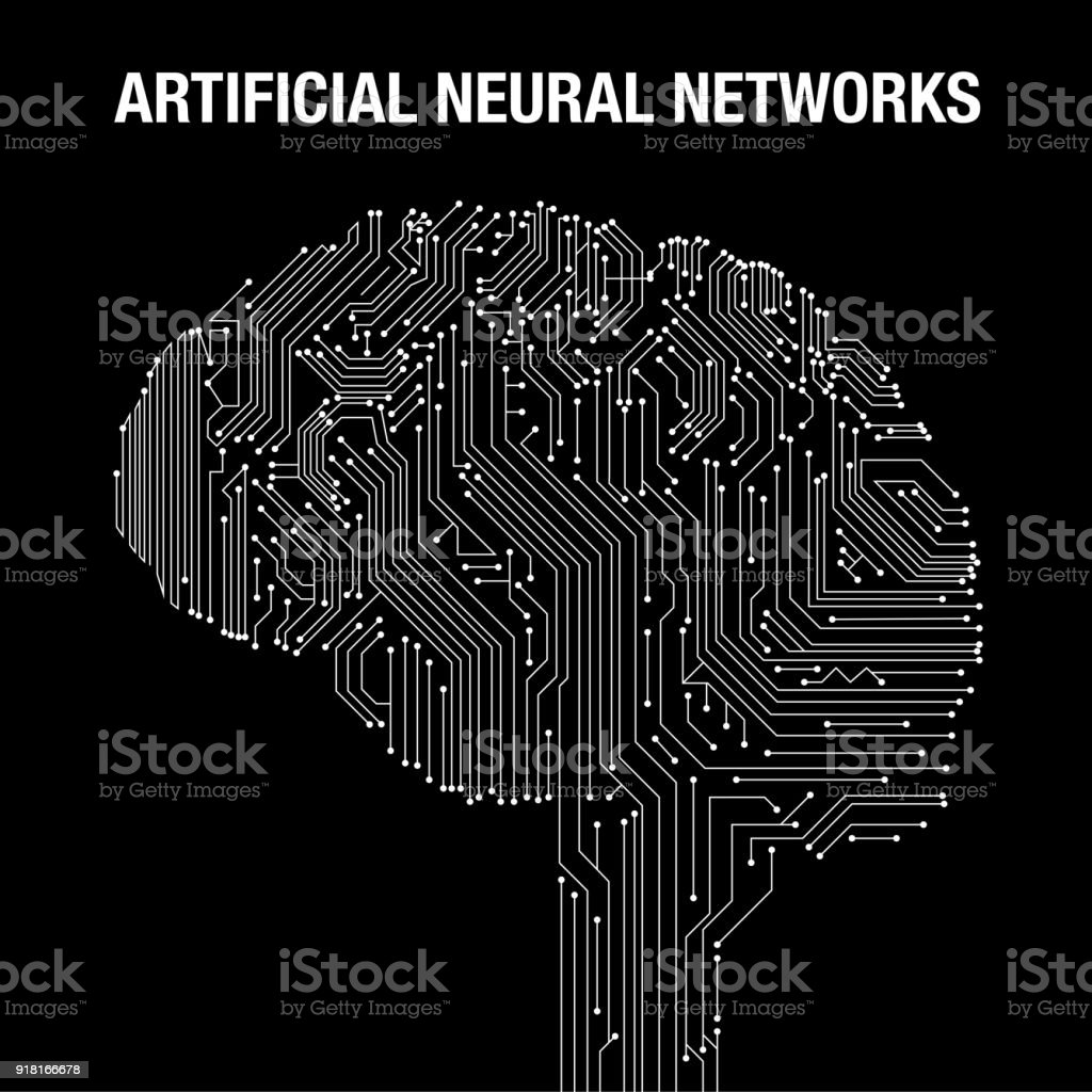 Artificial intelligence concept with brain illustration on background. Symbol of future technology, programming, neural network. - foto stock