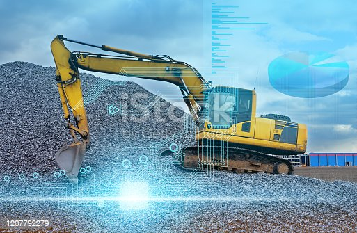 1136415363 istock photo artificial intelligence controls the excavator without human intervention and transfers data to the cloud systems for storage and analysis 1207792279