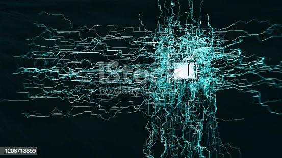 970317224 istock photo Artificial Intelligence CPU block 1206713659