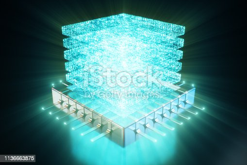 istock AI - artificial intelligence CPU concept. Hologram above CPU. Machine learning. CPU on the board with glow tracks. Background scientific concept in blue light. 3D illustration 1136663875