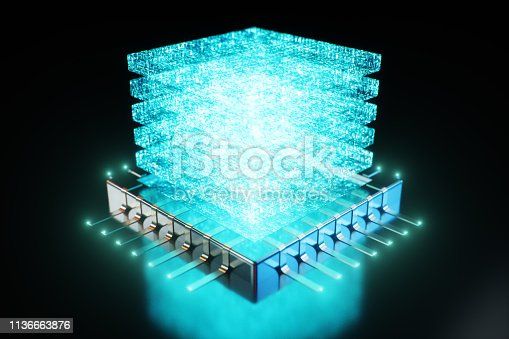 istock AI - artificial intelligence CPU concept. Hologram above CPU. Machine learning. CPU on the board with glow tracks. Background scientific concept in blue light. 3D illustration 1136663876