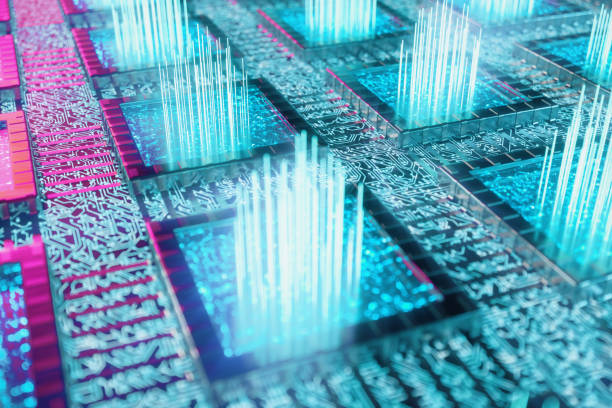 AI - artificial intelligence CPU concept. Machine learning. CPU on the board with glow tracks. Background scientific concept in blue light. 3D illustration stock photo