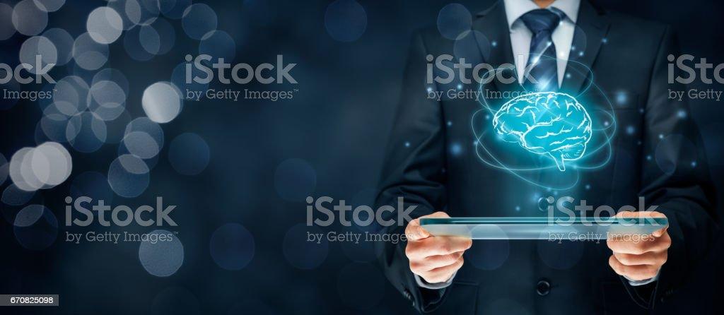 Artificial intelligence, creativity, brainstorming stock photo