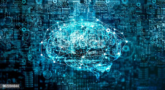 istock Artificial Intelligence digital Brain future technology on motherboard computer. Binary data. Brain of AI. Futuristic Innovative technology in science concept 962094644