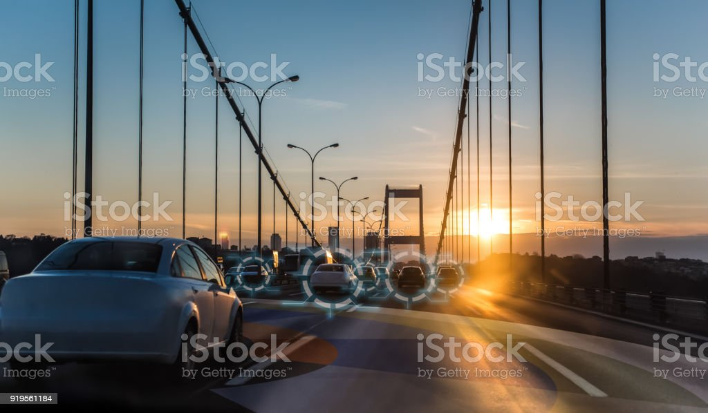 Artificial intelligence driving autonomous smart cars stock photo