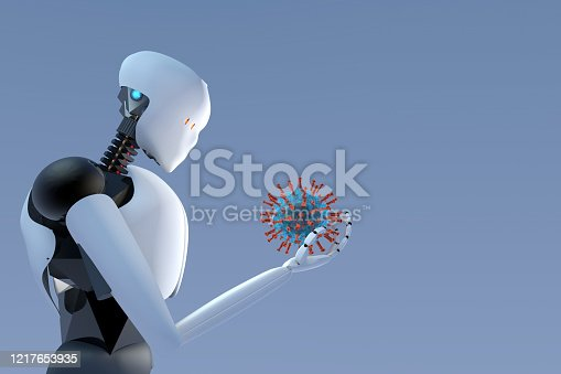 Artificial intelligence humanoid robot holding Corona Virus (Covid-19) in it's hand concept of robotics usage in science