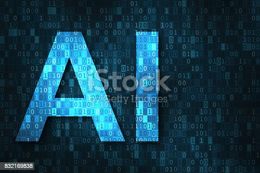 istock Artificial intelligence illustration with AI over binary code matrix background 832169838