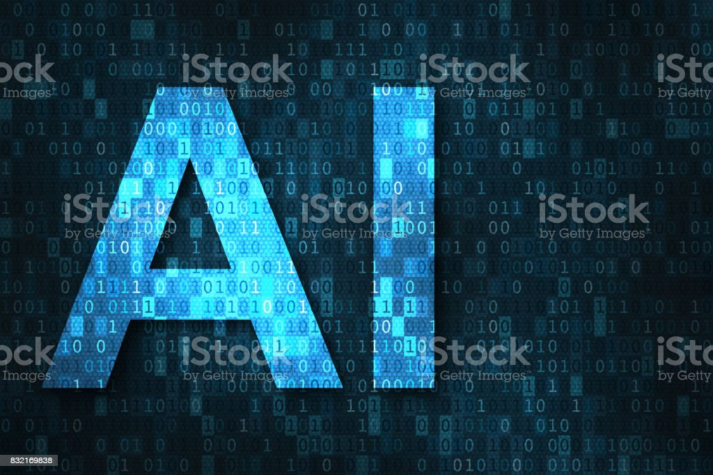 Artificial intelligence illustration with AI over binary code matrix background stock photo