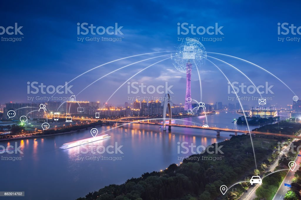 Artificial intelligence in smart city stock photo