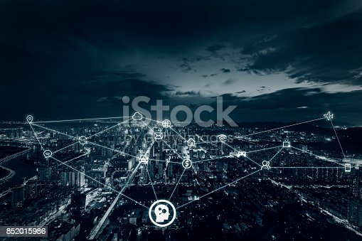 852015986 istock photo Artificial intelligence in smart city 852015986
