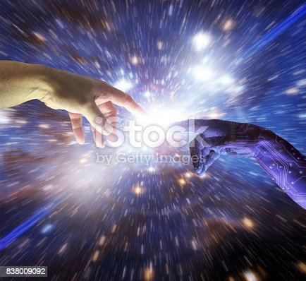 istock AI Artificial Intelligence Intelligent Hand of Cyborg God 838009092