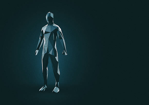 Artificial intelligence low poly Humanoid. 3d illustration. ストックフォト