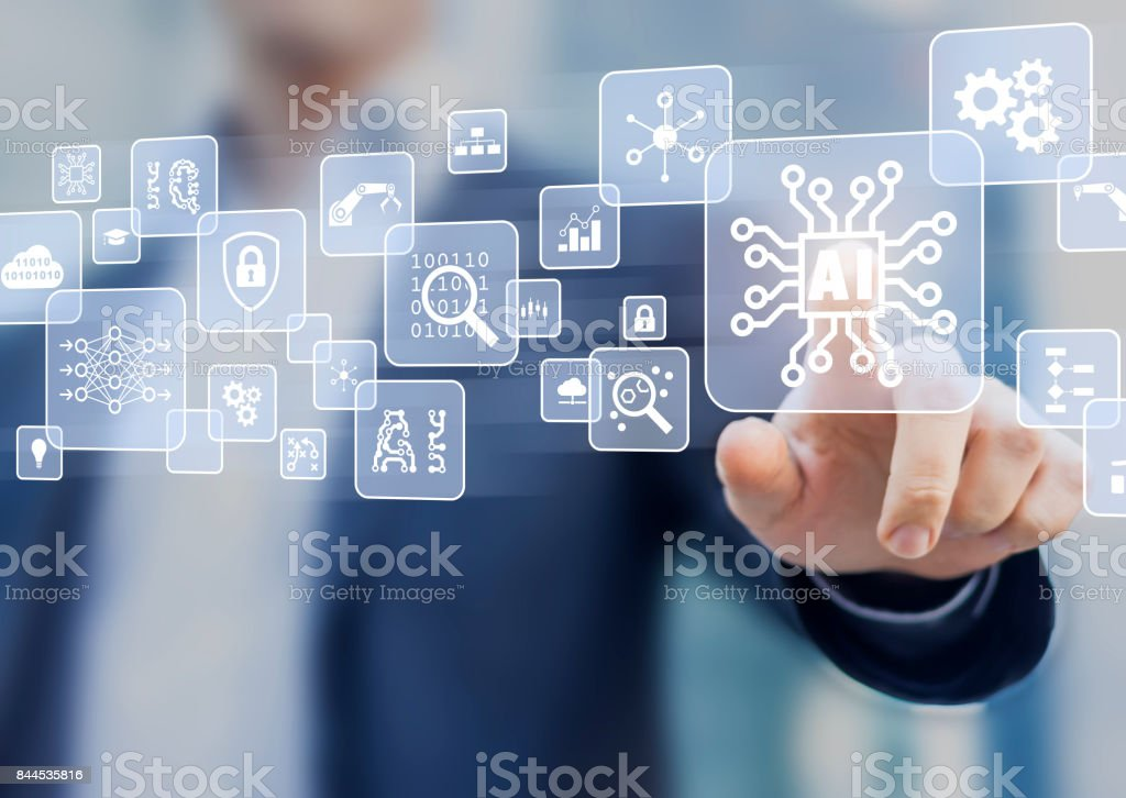 Artificial Intelligence (AI), machine learning and data mining technology interface stock photo