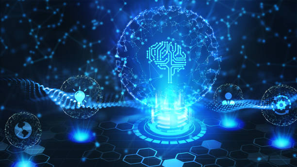 Artificial intelligence (AI), machine learning and modern computer technologies concepts. Business, Technology, Internet and network concept. stock photo
